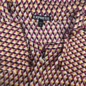 Express Tops - 3/$25 Geometric Express Long Sleeve Blouse Zipper